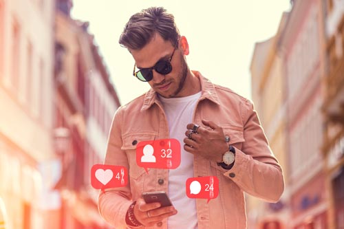 Famous micro influencer checking effective influencer app marketing campaign results