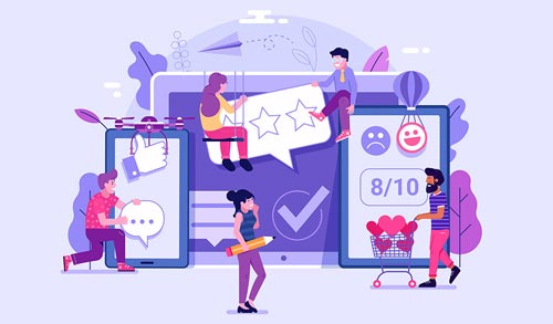 Illustration of customers engaging in influencer database