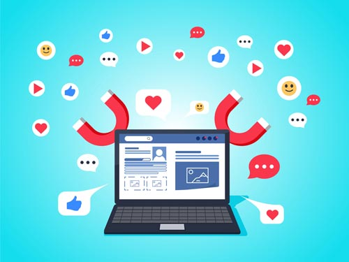 Illustration of a laptop showing a social media post in how to become a micro influencer