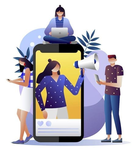 Illustration outlining how to find micro influencers with the Coovy app